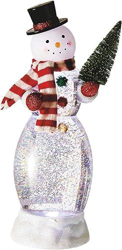 MIDWEST-CBK Snowman with Christmas Tree 13 inch Acrylic Figurine Snow Globe