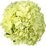 Artificial Silk Hydrangea SOLEDI Fake Dried Flower Bush with 7 Mop Heads Flower Bunch Bouquet Home Hotel Wedding Party Garden Floral Decor Hydrangea (Green)
