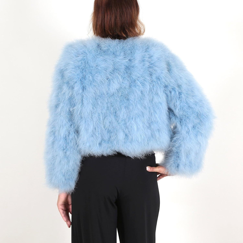 Chaqueta corta de pelo mujer abrigo de pluma auténtica EYES ON MISHA otoño invierno, fiesta, bolero, torera para vestido de novia, azul celeste, ...