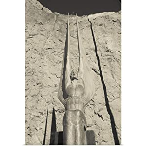 """GREATBIGCANVAS Poster Print Entitled Low Angle View of a Statue at a Dam, Boulder City, Hoover Dam, Nevada by 12""""x18"""""""