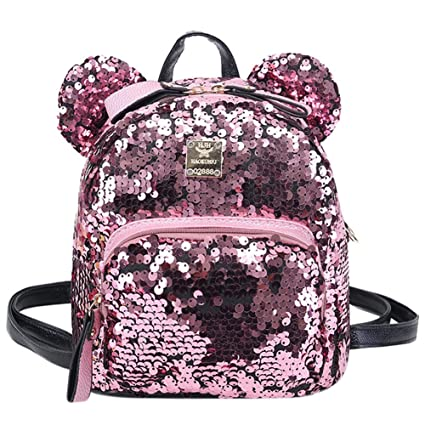 76d01b04b71 Naovio Women Girls Dazzling Sequins Backpack Schoolbag with Cute Ears  Shoulder Bag Satchel
