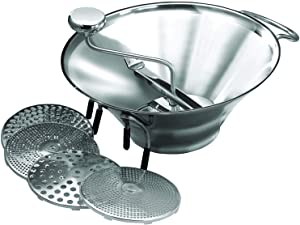 Winco Stainless Steel Food Mill with 5 Graters, 5-Quart