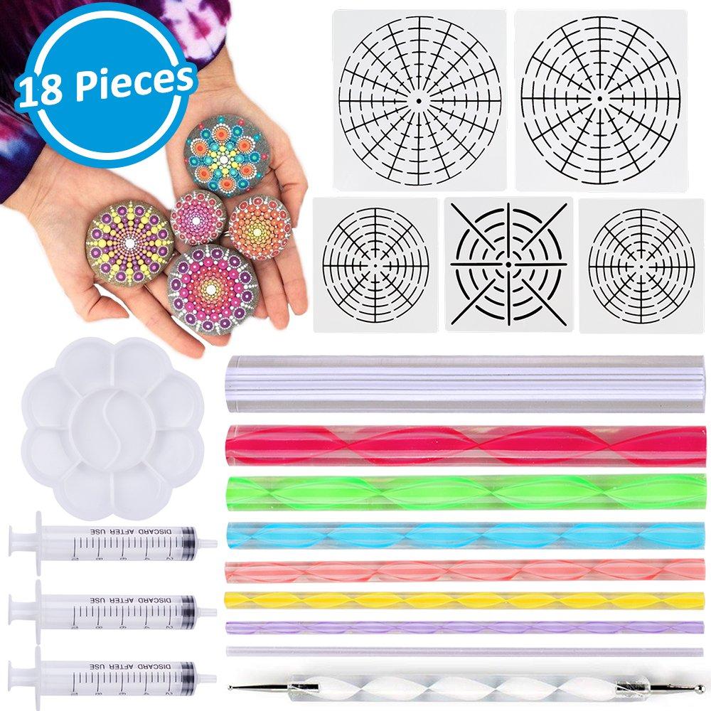 Mandala Dotting Tools 18 Pcs Mandala Rocks Painting Kit, Include Mandala Stencil, Mandala Dotting Pen, Paint Tray, Syringe for DIY Mandala Painting Art Crafts by INFELING