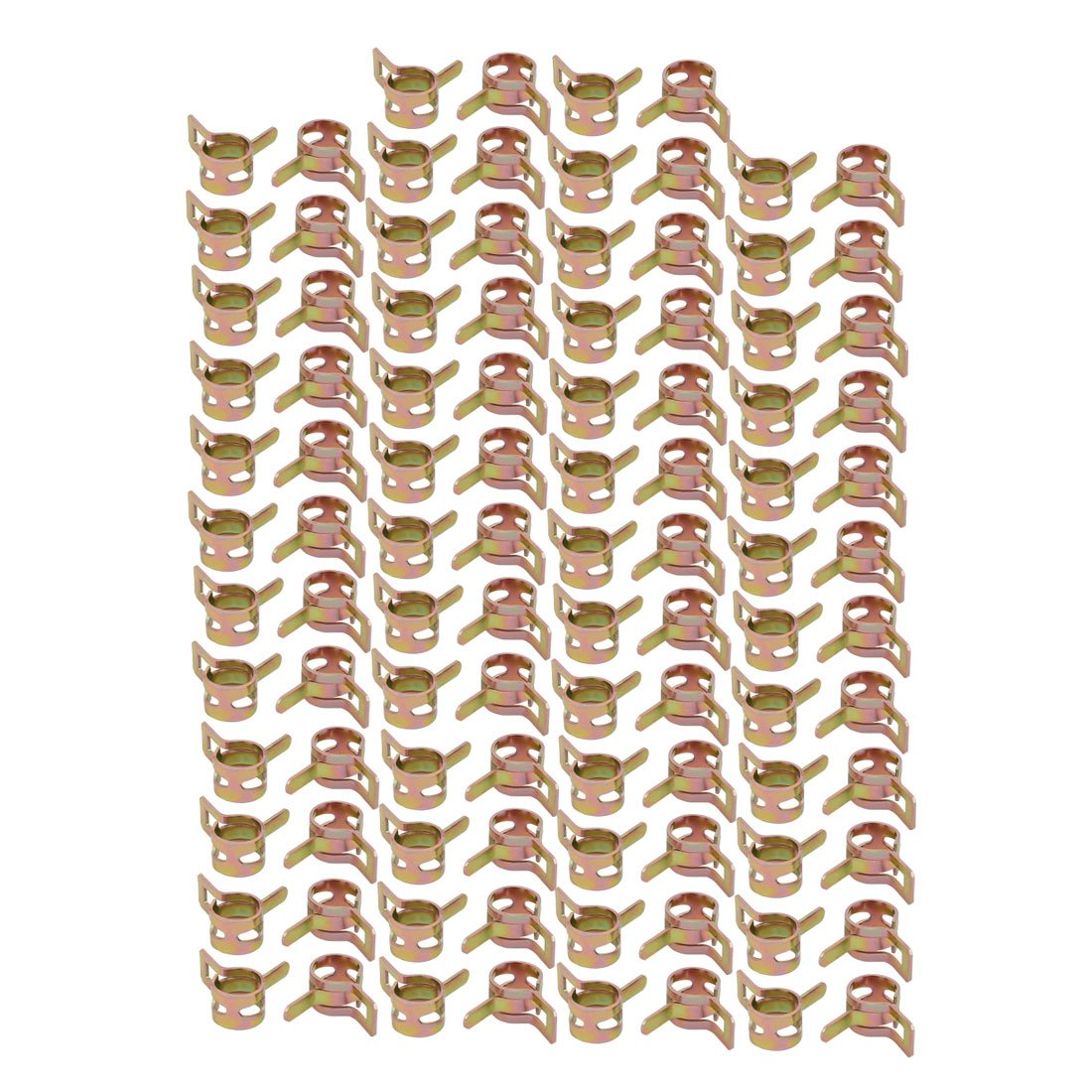 uxcell 100 Pcs 9mm Spring Band Type Action Fuel Hose Pipe Air Clamp Bronze Tone