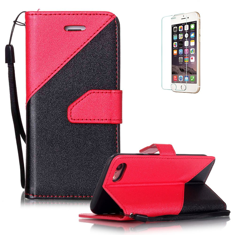 iPhone 7 Plus 5.5 Case [with Free Screen Protector], Funyye Elegant Premium Folio PU Leather Wallet Magnetic Flip Cover with [Wrist Strap] and [Credit Card Holder Slots] Full Protection CaseSkin Shell Different Color SplicingStyle Cover Case for iPhone 7 P