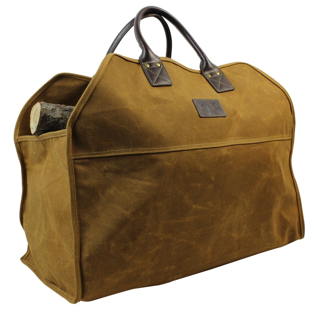 Heavy Duty Wax Canvas Log Carrier Tote,Large Fire Wood Bag,Durable Firewood Holder,Fireplace Wood Stove Accessories Storage Bag - Rust