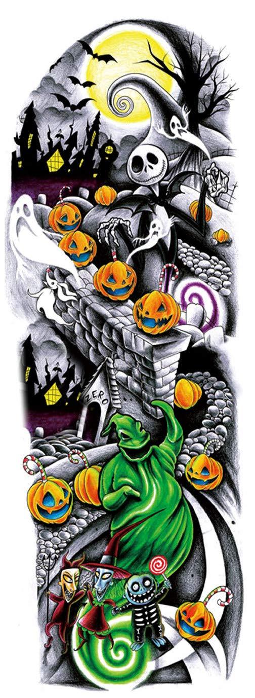 DaLin 12 Sheets Extra Large Temporary Tattoos, Full Arm Halloween Before Christmas (QB3001)