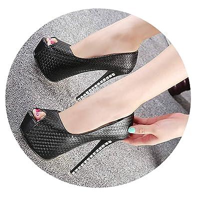 941e6f5e12c high-Heel Fish Mouth Single Shoes 14 cm Sexy Stiletto Rhinestone high Heels  Simple Women s