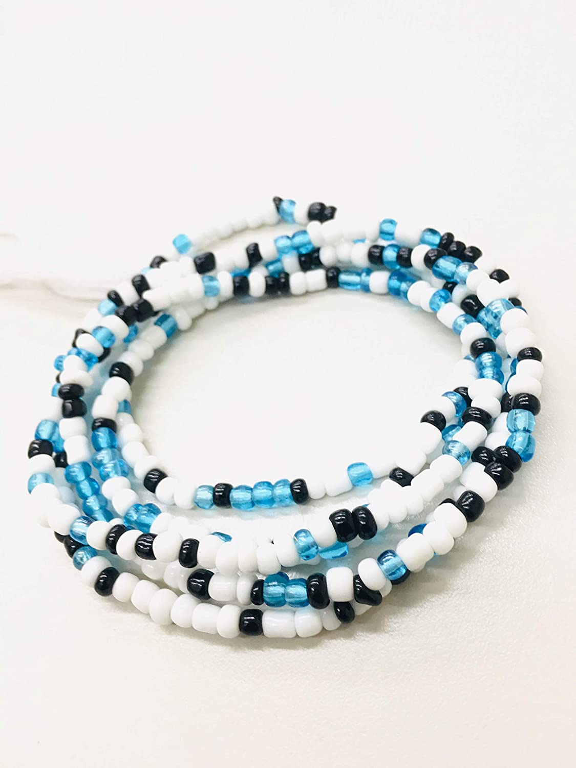 Blue 42 Inch Tie-On Solid Color African Waist Bead Strand