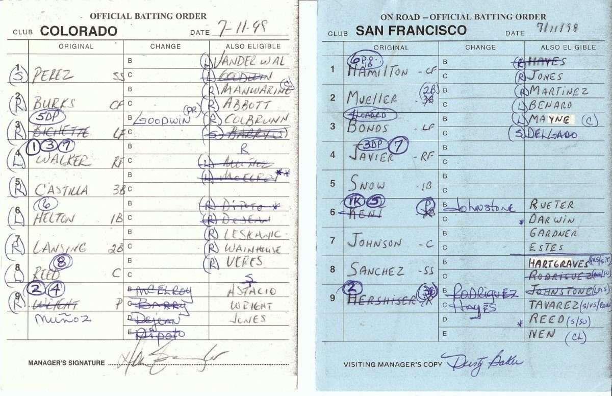 Dusty Baker Autographed Official Batting Line Up Card 7/11/98 Giants at Rockies