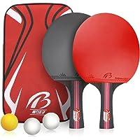 Weeygo Raquetas de Tenis de Mesa, Profesionales 2 Raquetas de Ping Pong Alta Velocidad Juego de Tenis de Mesa para el…