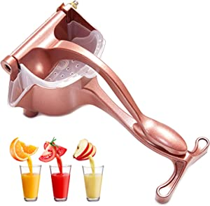 Manual Fruit Juicer With Detachable Liner Hand Press Teflon Citrus Fruit Juicer Premium Quality Metal Aluminum alloy Lemon Squeezer with 5 pcs Filter Bags and 1 Fruit Clip Rose Gold Manual Juicer, DIDU