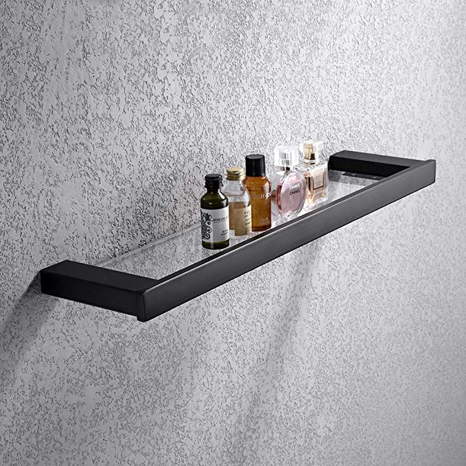 Turs Glass Shelf Bathroom Shelves Stainless Steel Tempered Glass Rack Storage Organizer Matt Black Finish N1ZWJ-BK