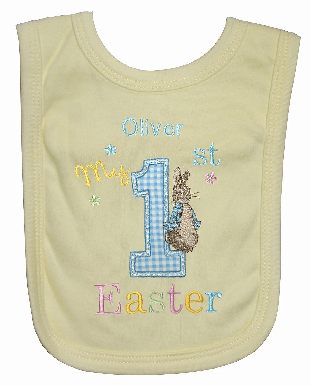 Boy/'s Personalised 1st Little Rabbit Easter Bib. White-Blue Trim