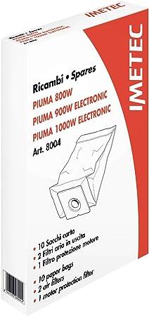 Imetec 8004 Kit Ricambi, 10 Sacchetti, 2 Filtri Aria, 1 Filtro Motore per Scopa Elettrica Imetec Piuma