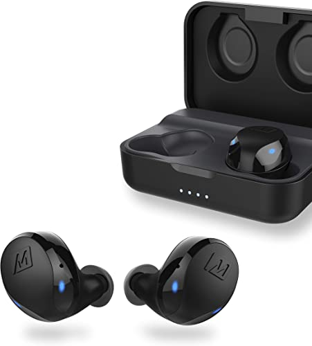 MEE audio X10 Truly Wireless in-Ear Headphones with Ergonomic Design, IPX5 Sweat Resistance, and 4.5 Hours Battery Life 23 Hours with Included Compact Charging case Black