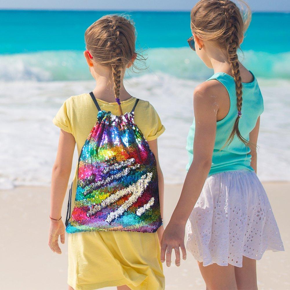 Basumee Unicorn Mermaid Sequin Bag Gym Bags Reversible Sequins Drawstring Backpacks Grlawn LK-BAG01201@#GRLA