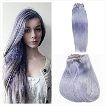 Amazon Com Alizee 18 Inch Clip In Hair Extensions Pastel Purple