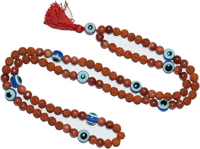 Amazon.com: Sunstone Mala Beads Necklace Blue Evil Eye Stone ...