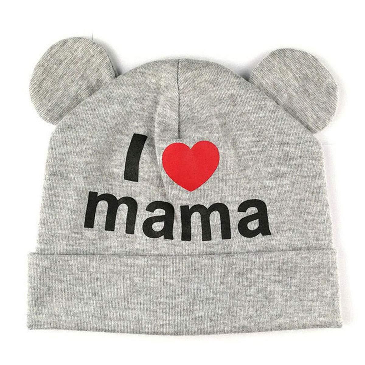 I Love Mama Print Beanie Caps Hats 0-12M Chennie Cappello Neonato Neonato con Orecchio Cartoon
