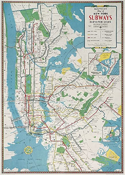 cavallini decorative paper new york city subway map 20x28