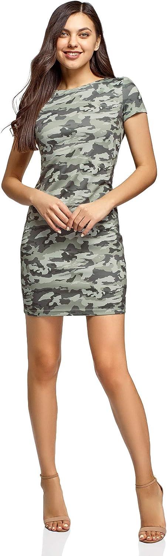 oodji Ultra Mujer Vestido Entallado con Decoración Metálica en los Hombros