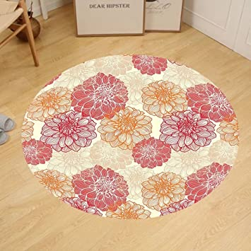 Amazon.com: Gzhihine Custom round floor mat Dahlia Flower Decor ...