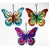 Set of 3 Metal Hanging Butterfly Garden Ornaments Wall Art Metallic Butterflies