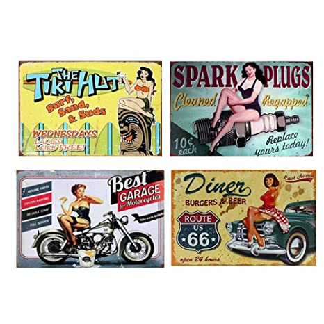 Amazon.com: Easy Painter Vintage Metal Signs Decorationds ...