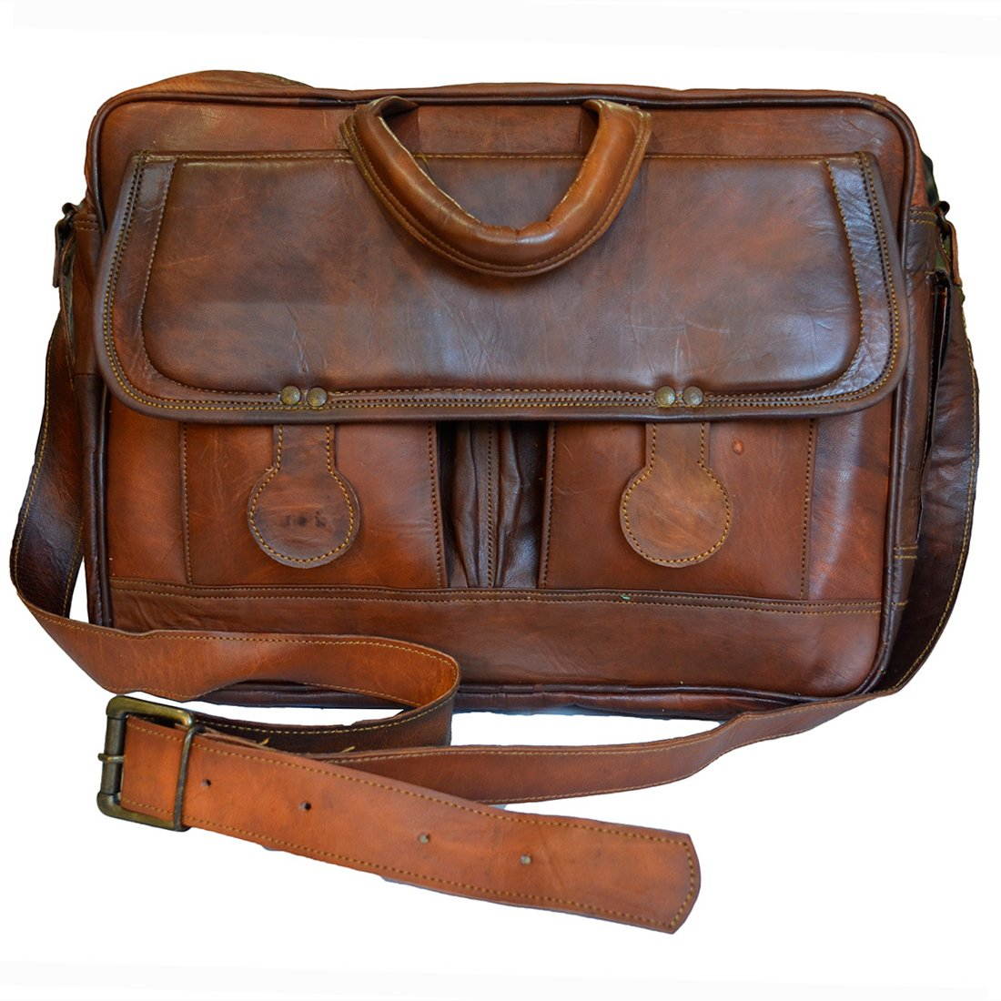 Mad Over Shopping Vintage Genuine Leather Steampunk Retro Laptop Crossbody Briefcase Bag