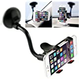 Car Phone Mount Windshield, Long Arm Clamp iVoler Universal Dashboard with Double Clip Strong Suction Cup Cell Phone Holder Compatible iPhone XR XS Max X 7 8 Plus 6 Plus Galaxy S9 S8 S7 Plus Note 9