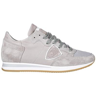 e52ea75a1b0 Philippe Model Chaussures Baskets Sneakers Homme en Daim Tropez Gris EU 41  A1UNTRLU5002