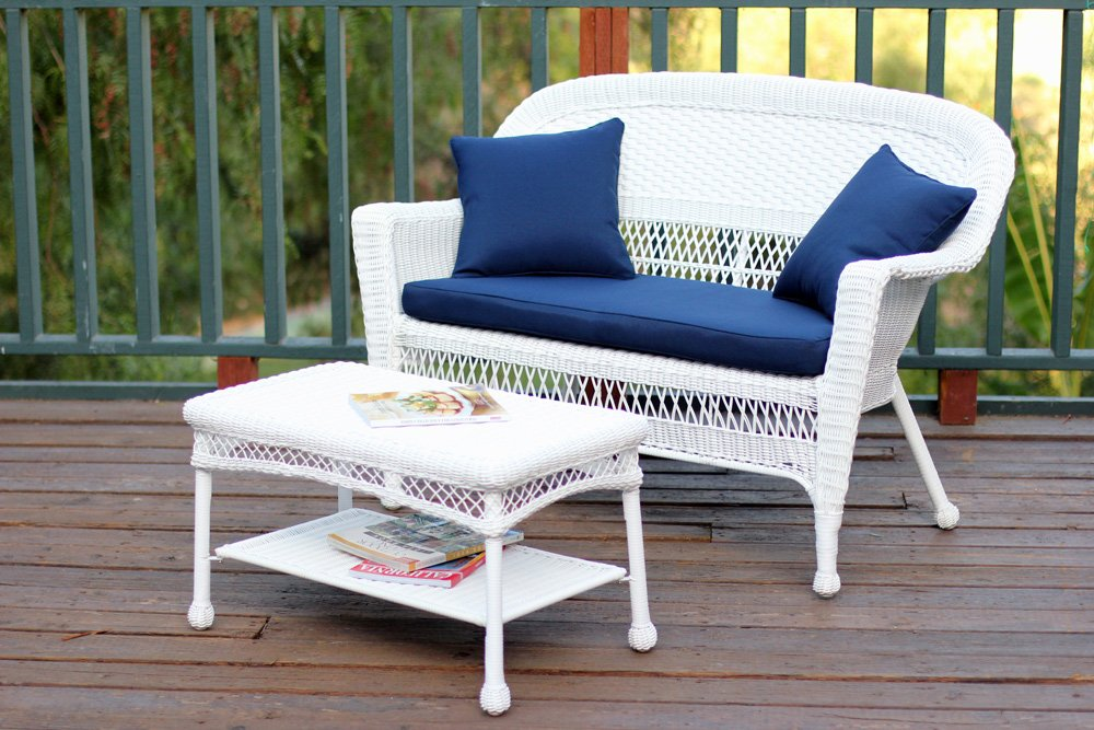 Jeco Wicker Patio Love Seat and Coffee Table Set with Blue Cushion, White by Jeco