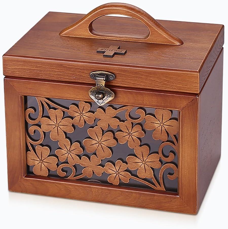 YLLYPX Caja de medicinas Escultura de Madera Botiquín de Metal Caja de Almacenamiento de Drogas: Amazon.es: Hogar