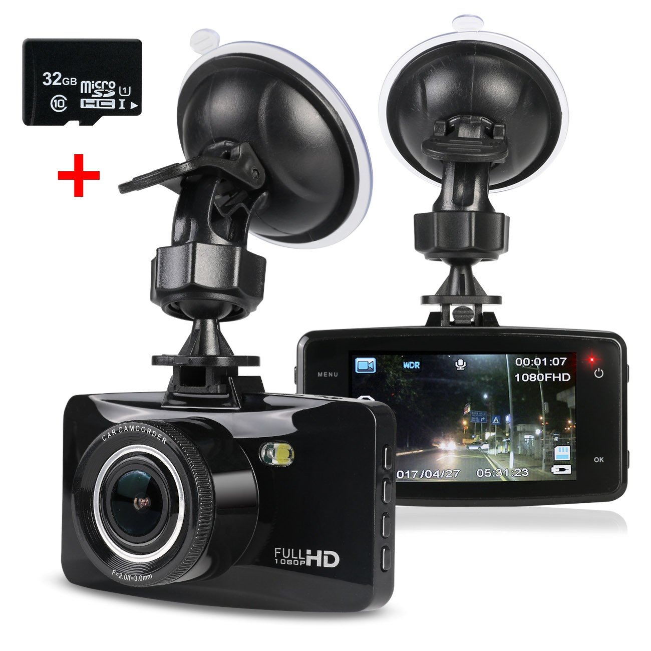 trofotyダッシュカメラHD 1080p 170度広角車カメラダッシュボードカメラ運転レコーダーナイトビジョン、Gセンサー、32gb Micro SDカード B076D5NRQ5