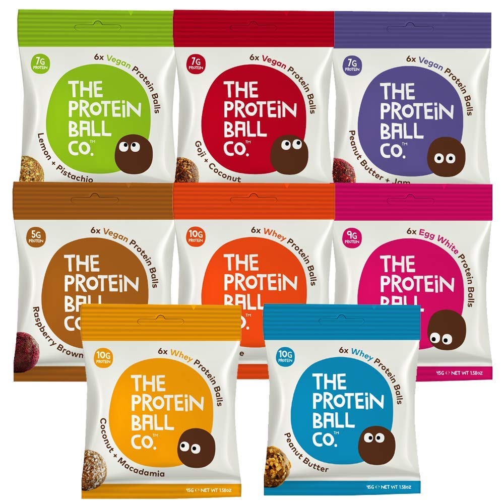 The Protein Ball Co. Selection Taster Box | All Natural | Healthy Snack |No Added Sugar | Gluten Free | Soy Free | Non GMO | 16 Pack