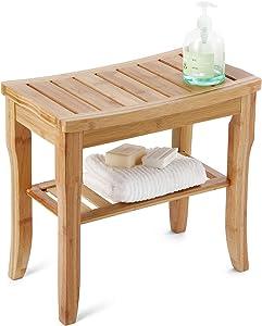 HYNAWIN Bamboo Shower Caddy Bathroom Bench Sturdy Waterproof Stool with Shelf Foot Stool & Shower Shelf-Indoor Outdoor Patio Garden Yard Bath Shower Bench Caddy