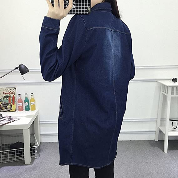 Huiwa Womens Denim Jacket Basic Coat Solid Jeans Coats Loose Long Sleeve Outwear Dark Blue One Size at Amazon Womens Coats Shop