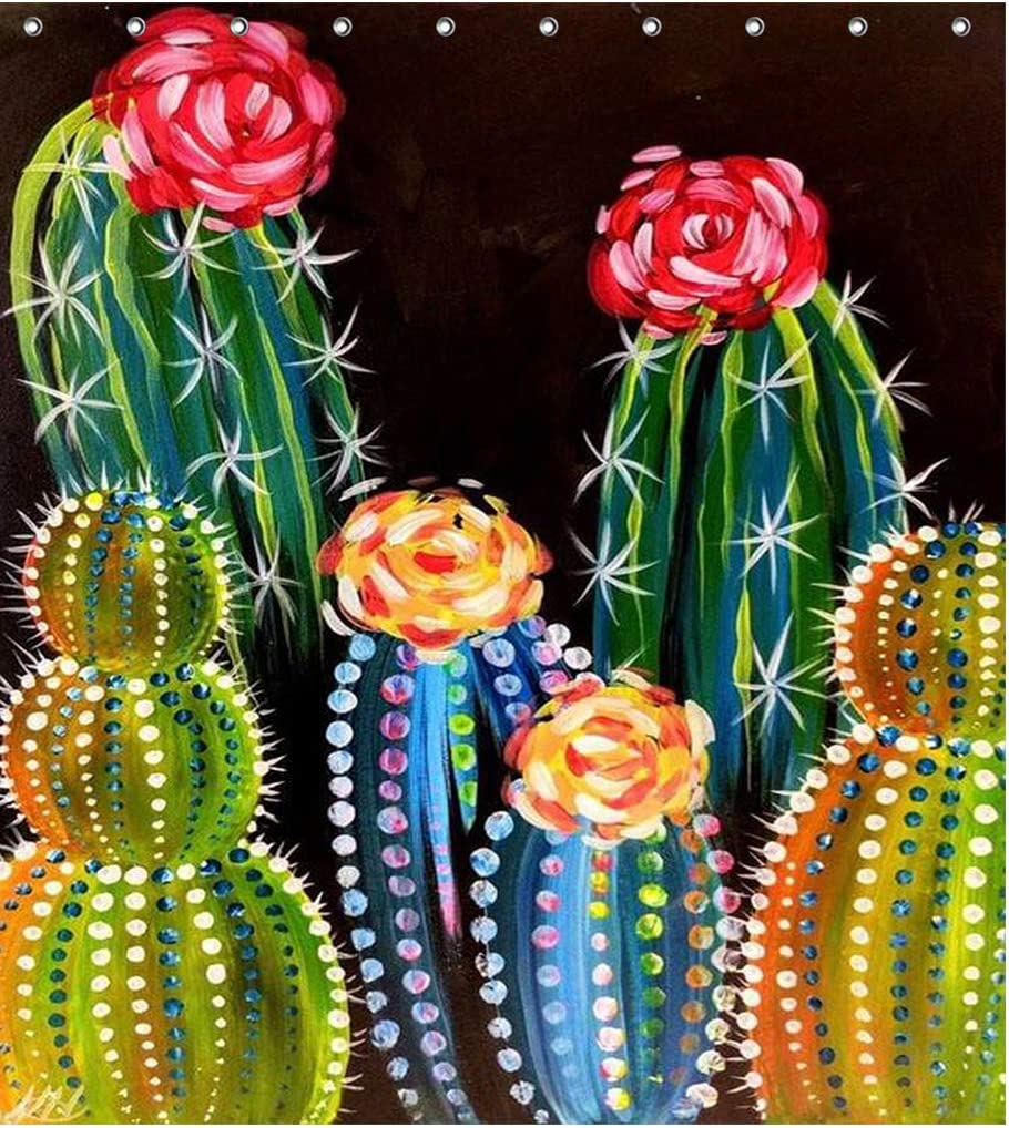 Watercolor Cactus Flower Tropical Plant Fabric Shower Curtain Sets Bathroom Decor with Hooks Waterproof Washable 71 x 71 inches Green Red Blue