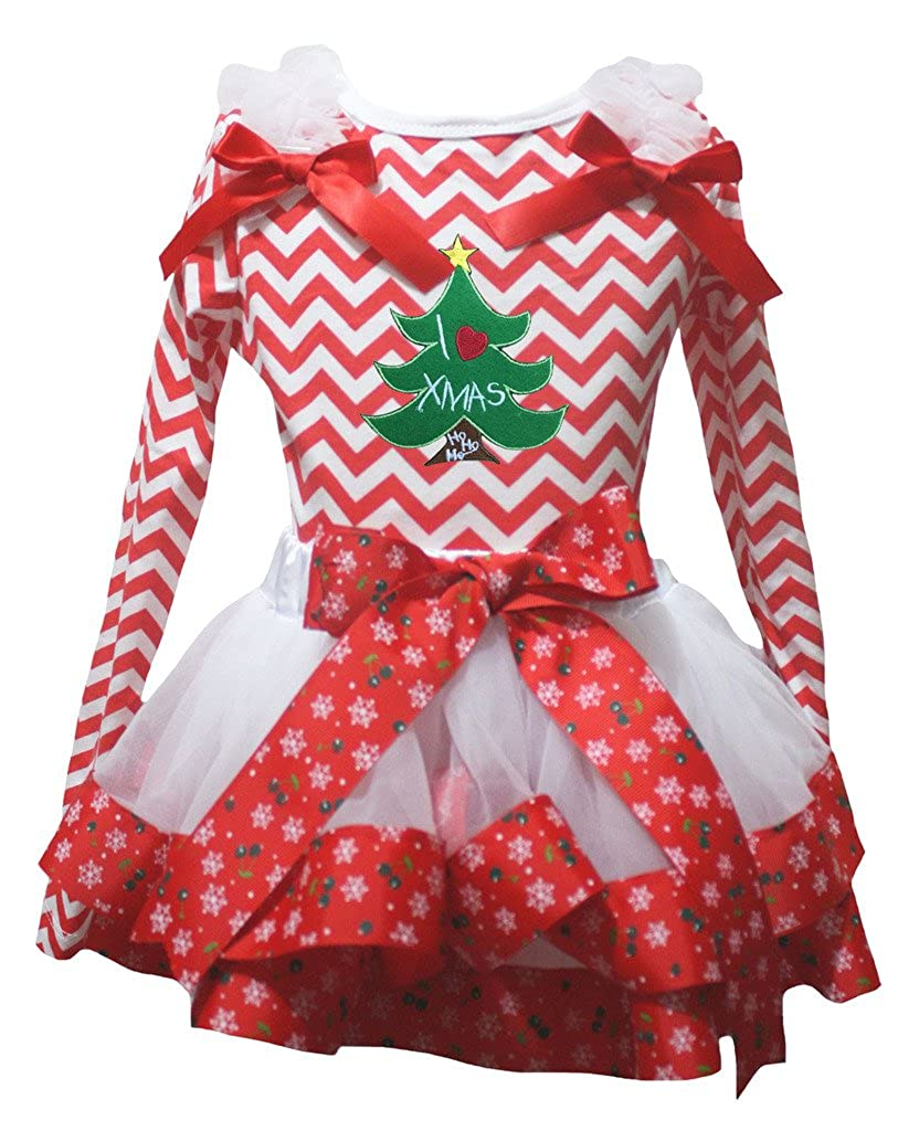 Petitebella Xmas Tree Red White Chevron L//s Shirt Snowflake Petal Skirt Nb-8y
