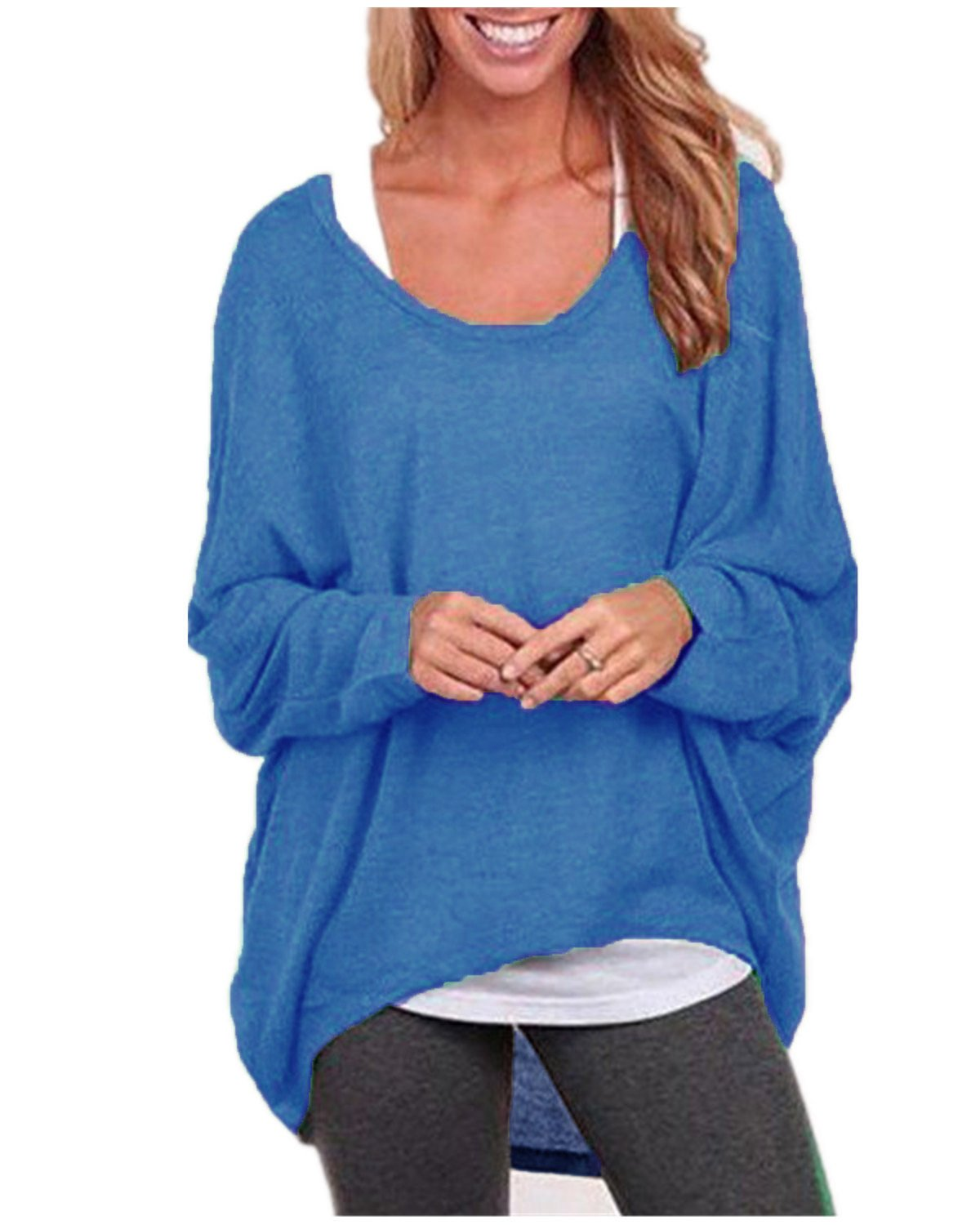 ZANZEA Women's Long Batwing Sleeve Loose Oversize Pullover Sweater Top Blouse Blue US 8/Tag Size M