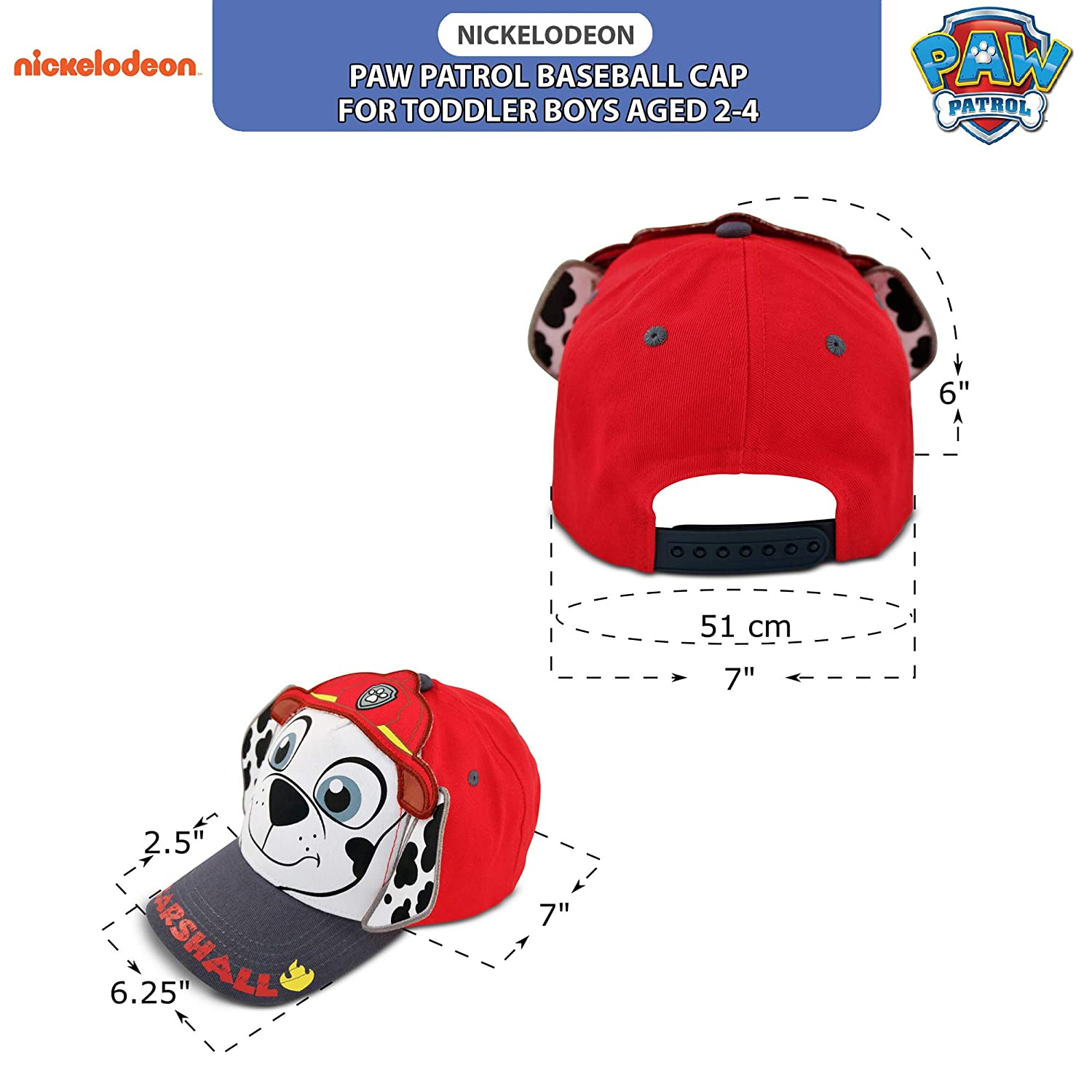 Nickelodeon boys Toddler Boys Paw Patrol Character Cotton Baseball Cap Age 2-4 Multicolor