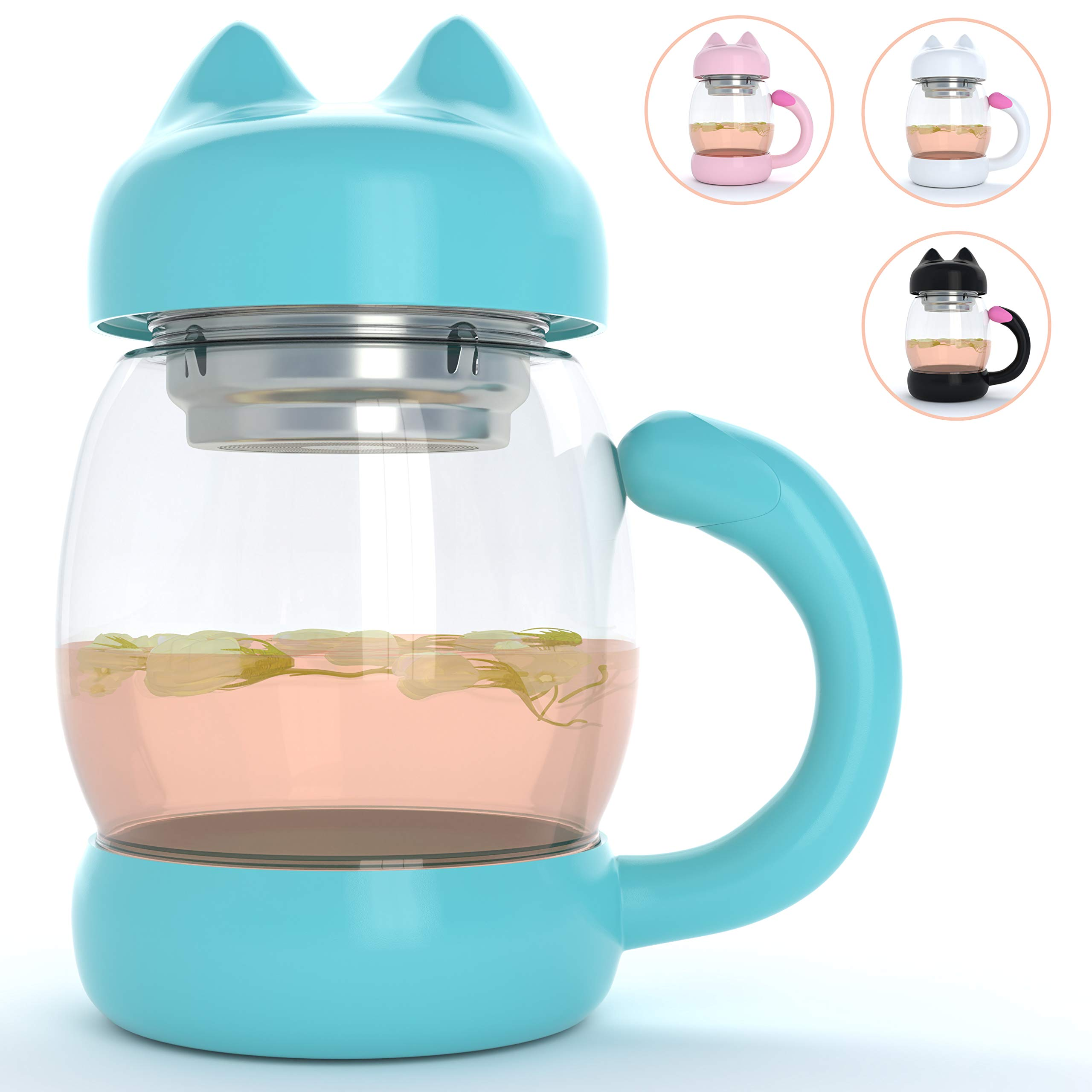 Cute Cat Tea Mug Cup – With Strainer / Infuser - Cat Lover Gifts for Cat Lovers and Women - Cat Themed Stuff Items Presents Gift - Portable Blue Travel Coffee Glass Mugs and Cups - Kitty Mug Lid 14oz