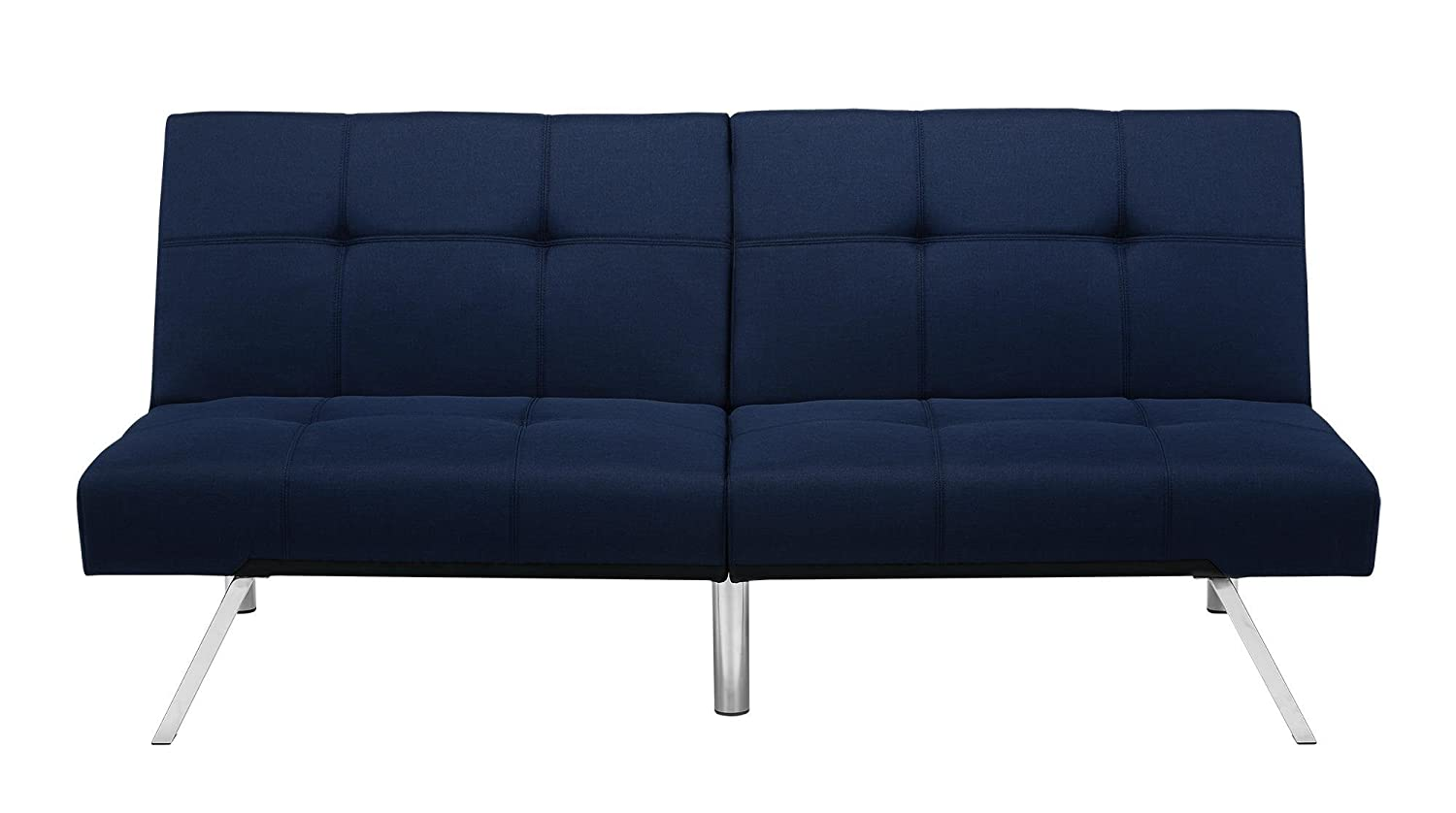 Novogratz Simon Futon Sofa Bed with Chrome Slanted Legs, Mid-Century Modern Design, Rich Blue Linen Blue Linen