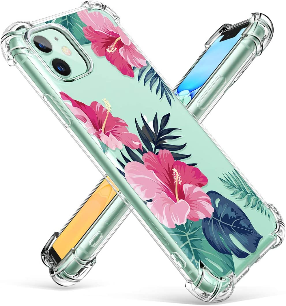 GVIEWIN Compatible iPhone 11,Diseño de Flores Suave&Flexible TPU Ultra Fina a Prueba de Impacto Transparente Protectora de Golpes Funda,para iPhone XI 6.1 Pulgadas 2019 (Bosque Tranquilo/Rosado)