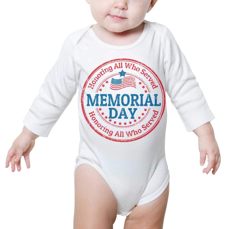 PoPBelle Happy Memorial Day Blue Baby Onesie Bodysuit Long Sleeve Jumpsuits Cotton Soft