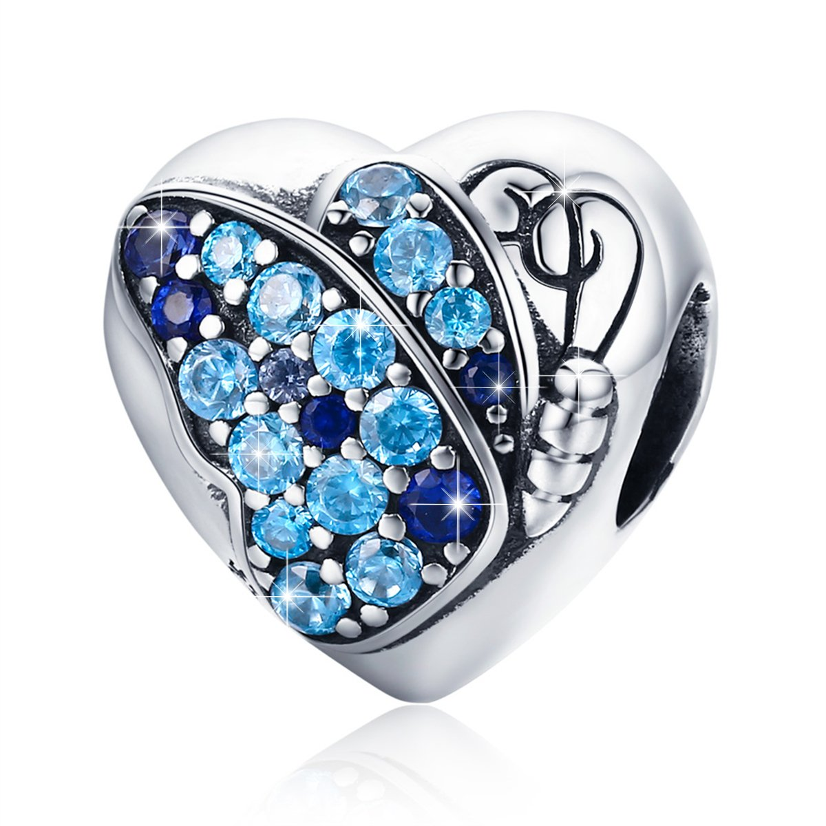 BAMOER 925 Sterling Silver Heart Charm Bead Love Charm Fit for Snake Chain Bracelet Butterfly Charm
