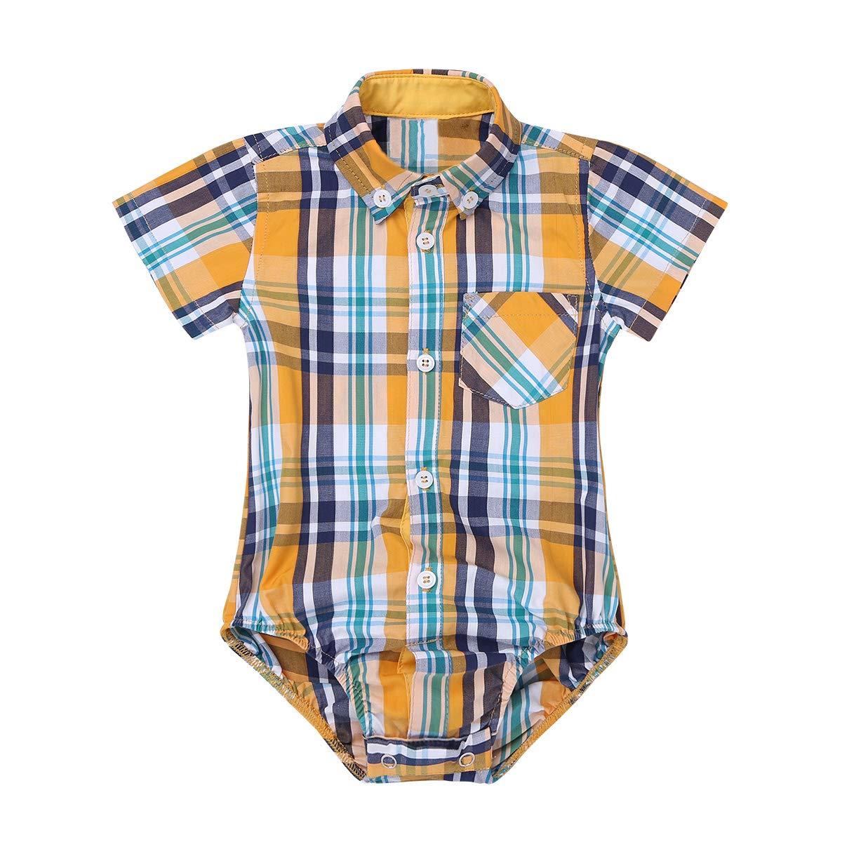 CHICTRY Baby Jungen Smoking Hemd Freizeithemd Neugeborene Kinder Strampler Gentleman Kostüm Festzug Hemd Overall