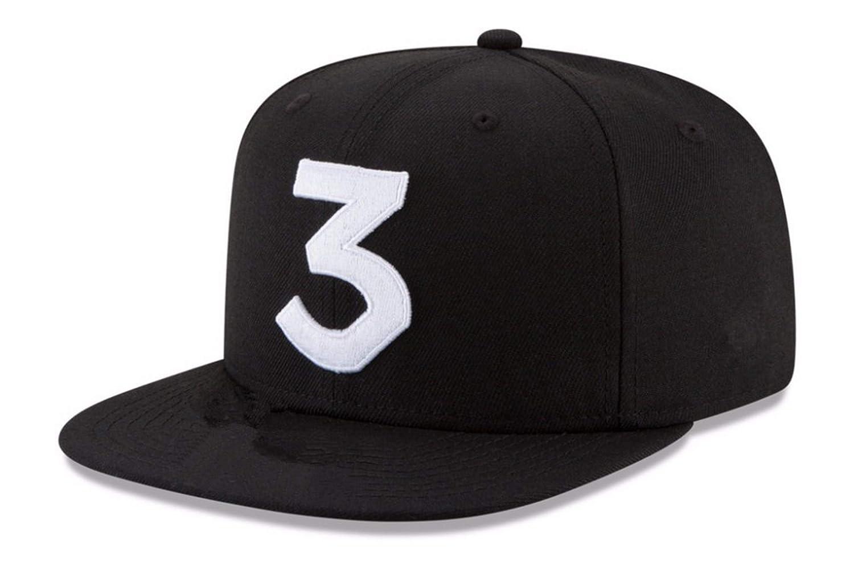 8c95760edaa Amazon.com  Popular Chance The Rapper 3 Hat Cap Embroidery Baseball Cap Hip  Hop Streetwear Strapback Sun Hat Bone Black  Clothing