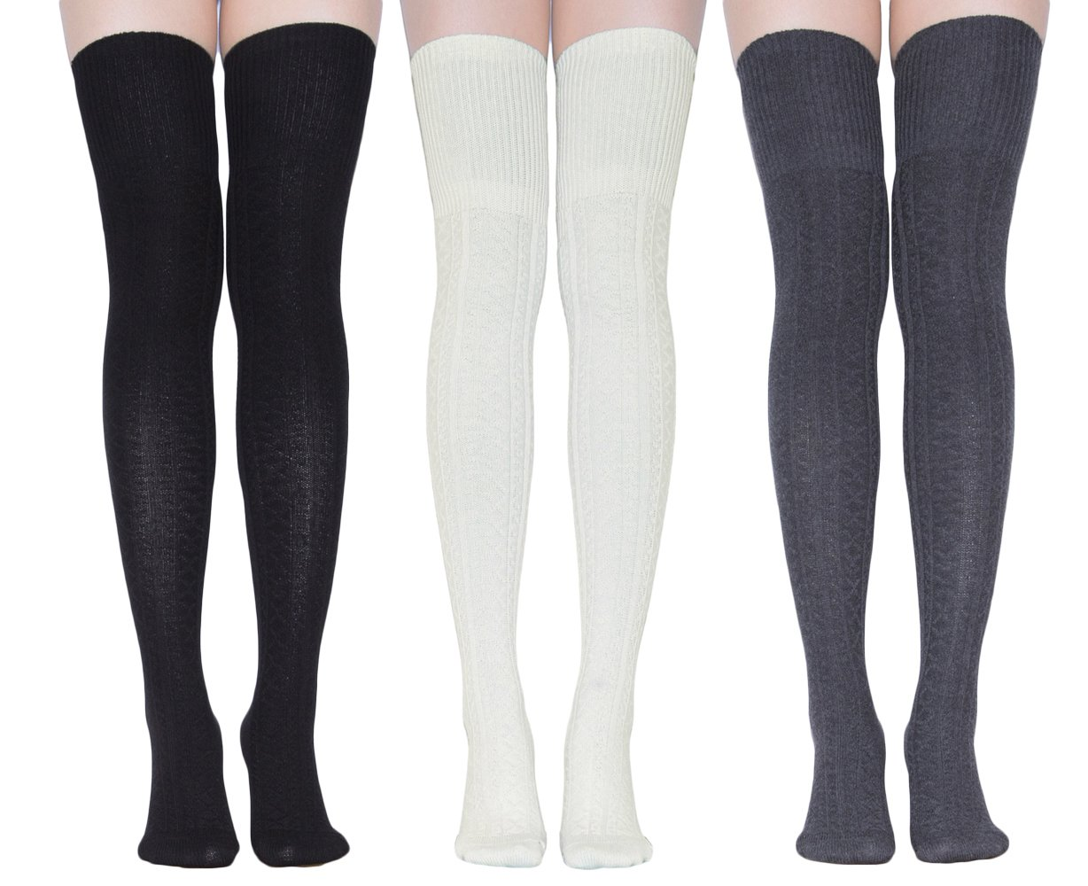 TooPhoto Women Cotton Over Knee Thigh High Socks Stockings Leg Warmmer Cosplay 3 pairs A-Black & White & Deep grey